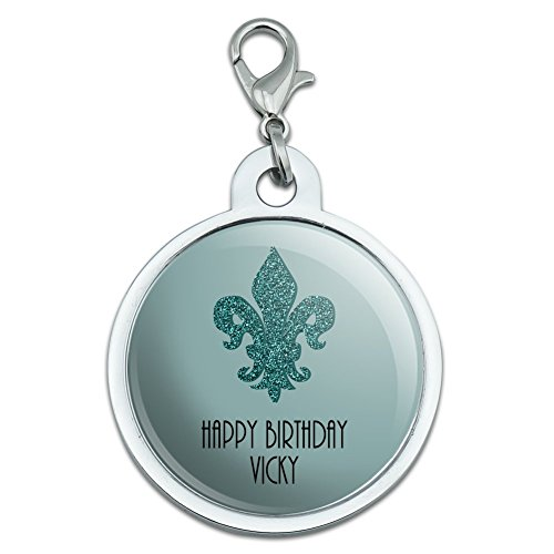 Graphics and More Personalized Custom Glitter Fleur De Lis Teal Birthday Wedding Bridal Shower Anniversary Chrome Plated Metal Small Pet ID Dog Cat Tag