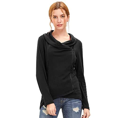 EKIMI Zipper Tops Hooded Sweatshirt Coat Jacket Casual Slim Hoodies for Women Ladies Girls