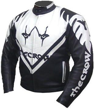 Kc003 Blouson cuir moto quad KARNO THE CROW noir et blanc