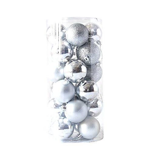 Barthylomo 24pcs/Pack Shiny and Polshed Glossy Christmas Tree Ball Ornaments Decorations 4cm (Silver) - Christmas Ornament Ball Tinsel