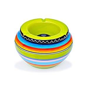 Cenicero de cerámica–1pieza–Multicolor Rayas–con verde tapa Nuevo