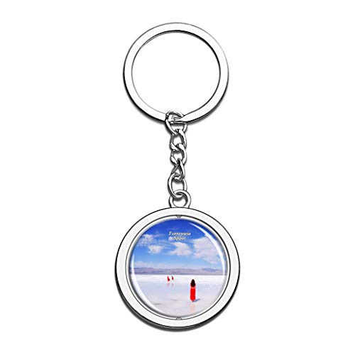 Hqiyaols Keychain Spain Salt Lake Torrevieja Souvenirs Crystal Spinning Round Stainless Steel Key Chain Ring Travel City Gifts Metal