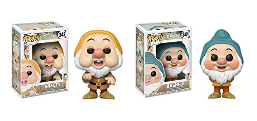 Funko POP! Disney's Snow White and the Seven Dwarfs: Sneezy Dwarf and Bashful Dwarf Toy Action Figure - 2 POP BUNDLE ()