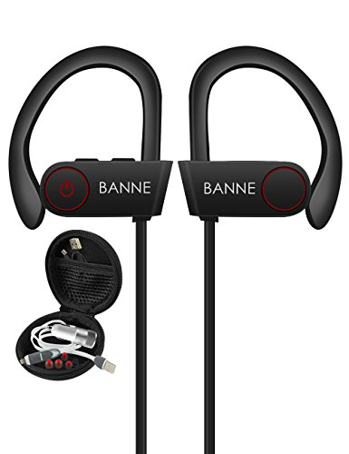 Banne Athletic Endeavors Fueled Lightweight Waterproof Sports Headphones with Mic,Secure Fit, Up to 8 Hours of Play,Music Inspired Wireless Bluetooth Headphone with HD Sound Bass, Noise Cancelling