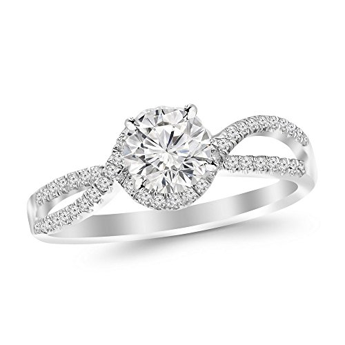 0.57 Cttw 14K White Gold Round Cut Twisting Curving Halo Style Split Shank Diamond Engagement Ring with a 0.37 Carat D-E Color SI2-I1 Clarity Center Image