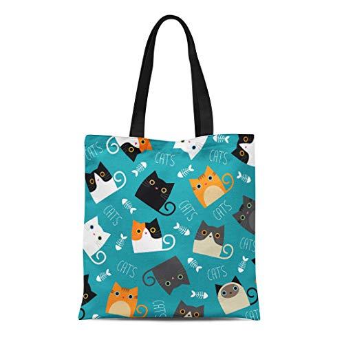 Semtomn Canvas Tote Bag Shoulder Bags Colorful Cartoon of Cats Depicting Different Breeds and Fur Women's Handle Shoulder Tote Shopper Handbag