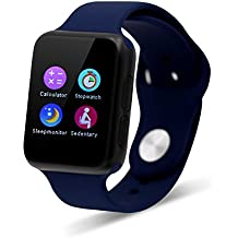 Tecomax Ultra Slim Sport Smart Bracelet Watch Phone Mate with Bluetooth Hands Free Call Anti lost Sleep monitoring for Android Samsung HTC LG Sony Huawei Smart Phones - Deep Blue