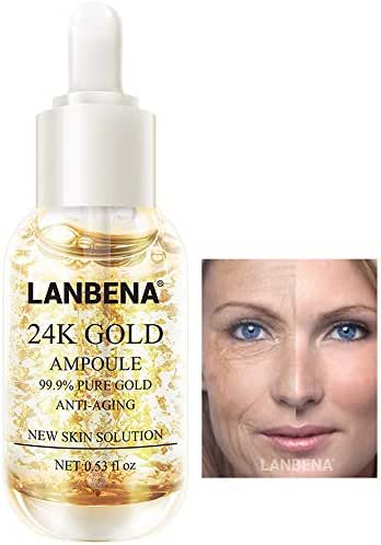 Face Skin 24 K Gold Ampoule Anti-Wrinkle Anti-Aging Serums For Reducing Fine Lines+Brightening Skin Tone+Anti-Oxidant+Nourishing Whitening Firming