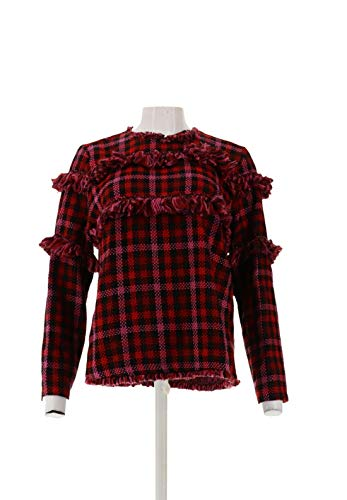Berry Boucle - Wendy Williams Boucle Fringe Pullover Top Berry S New 560-670