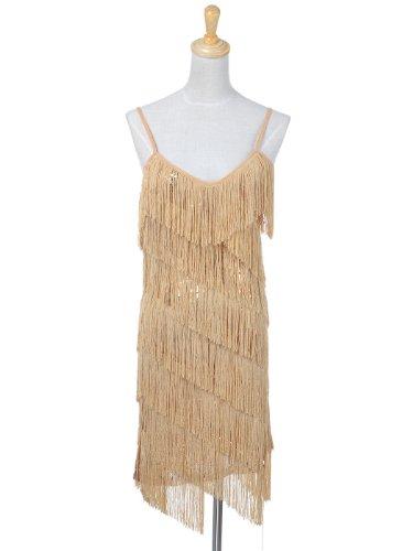 Tanzen Gatsby Damen Verstellbar Anna Troddel Paillette Kaci 1920S Party Gold Spagetti Fransen Kleid Vintage Quaste Mini na7xSqWw7