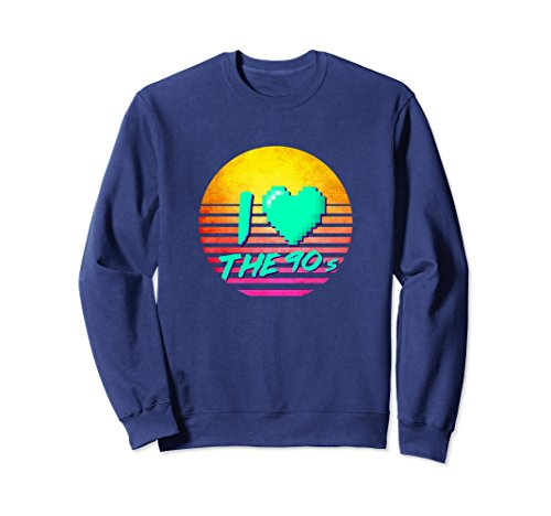 80's-90's Themed Costumes (Unisex I Love The 90's Sweatshirt 90s clothes for women and men Medium Navy)