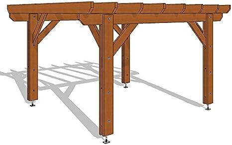 Pergola tratada a presión marrón clase 3B – 400/400 en Kit – 16 M2 – propriocepción) – Calidad superior, montaje fácil – Máquina spécialiste de carpintería madera 100% francesa., marrón: Amazon.es: Jardín