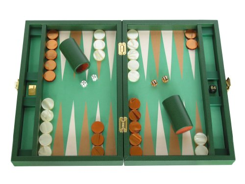 "Luxury Backgammon Set from Italy - Leather-Microfiber Case - 16"" Green"