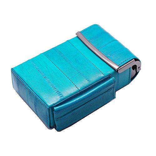 Automatic Rising Genuine Eel Skin Leather Sliding Cigarette Case with Lighter Holder (Teal)