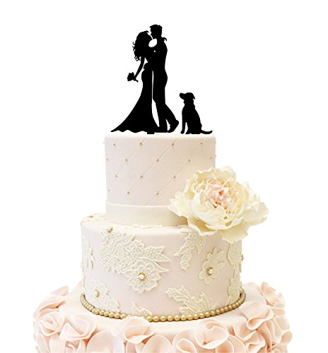 Wedding Anniverary Cake Topper couple with a Dog (Black)