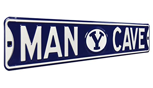 Authentic Street Signs NCAAMAN CAVE, Officially Licensed, REAL 3 Foot, Premium Grade Solid SteelEmbossed STREET SIGN- Prime Wall Decor for Home, Office, Garage- Perfect Gift for - Byu Cougars Office Home