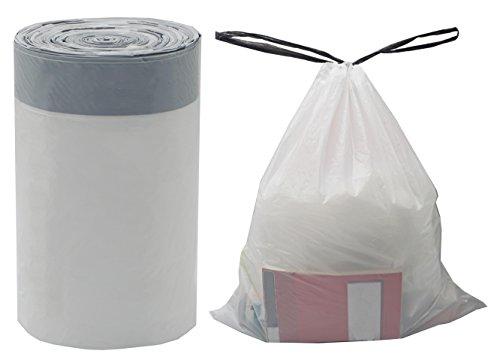 Besli 2.6-3.2 Gallon DrawString Strong Trash Bag Garbage Bag (2.6-3.2 Gallon(100 Bags), White)