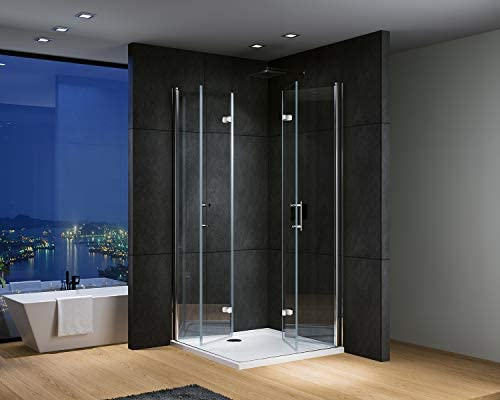 IMPTS Cabina de ducha esquinera, mampara de ducha, puerta plegable, 180o, cabina de color turquesa plegable, 6 mm, cristal nano, 195 cm, sin plato de ducha, Plateado: Amazon.es: Bricolaje y herramientas