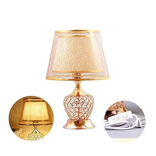 Lamparas de escritorio clasicos Hueco de la lampara de tabla cristalina, oro minimalista lampara de mesa moderna, lampara decorativa mesita de noche con interruptor doble, salon dormitorio de lectura