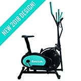 Harvil Elliptical Trainer and Exercise Bike 2 in 1 by Includes LCD Fitness Tracker, Heart Rate Sensor Grips, Tension Adjustment System, Improved Saddle Seat and Foot Pedals.
