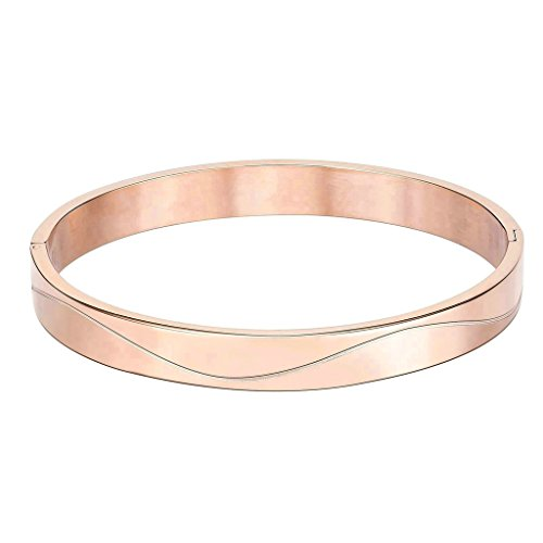 KnSam Women Stainless Steel Cuff Bracelets Polished Wave Cubic Zirconia Rose Gold [Novelty - Clasp Sterling Silver Neoprene Necklaces