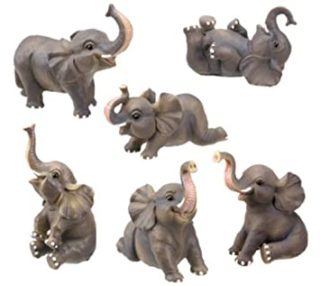 Small Elephant Collectible Figurine, Set of 6