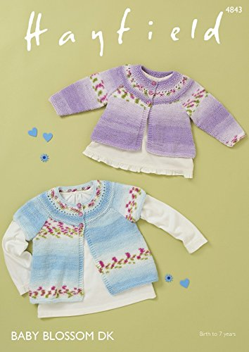 Hayfield Baby Cardigans Blossom Knitting Pattern 4843 DK