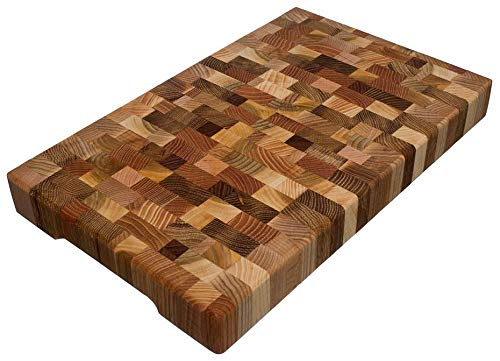 (Cutting Board 16 x 10 x 1.6 inch End Grain Chopping Block Hardwood Extra Thick Wood: Cherry Oak Canadian Oak Ash-tree Walnut Beech Durable & Resistant)