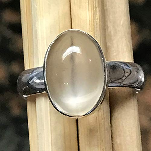 Natural Shimmering True Moonstone/White Orthoclase Moonstone 925 Sterling Silver Ring sz 8.25 ()