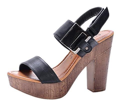 Nature Breeze Women's Maroon-01 Platform Slingback Wood Chunky High Heel Sandal,8.5 B(M) US,Black - Slingback Platform Heels