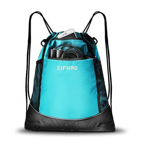 (Elfhao Drawstring Backpack Bag Men & Women Sports Gym Sackpack Waterproof Tote Bag Sports Sack Light Backpack Soccer Bag (Blue))