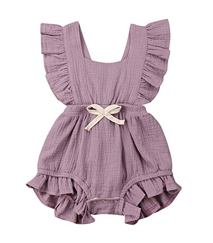 Moolia Toddler Baby Girl Ruffled Romper Flutter Sleeve One-Piece Bodysuit Outfit Clothes (90(12-18M), Light Purple)