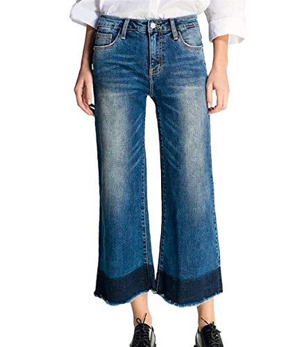 Fit Las Denim Dunkel Stretch Delanteros Slim Moda Bolsillos De Pierna Mujeres Vaqueros Botones Floja Pantalones Blau Ocasionales Ancha EqxwRXCz