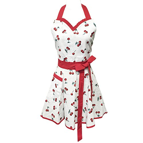 Wrapables Adjustable Flirty Hostess Apron, Sweet Cherries