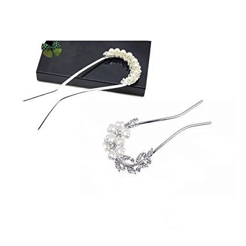 Garrelett U-shaped Hair Clip Vintage Pearl Rhinestones Hair Barrettes Ornaments Bridal Hairpin Accessories for Women Ladies Girls 2PCS (Silver and - Star Sale For Tortoise Uk