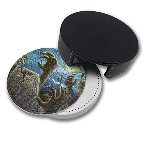 RZ GMSC Halloween Painted Wallpaper Coasters for Drinks,PU Leather Coasters with Holder,Suitable for Kinds of Mugs and Cups,Protect Furniture from -