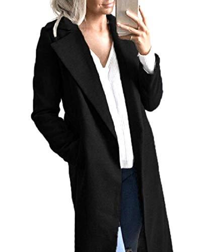 Collar Turn Pockets Cardigan Big Fall Wrap Women Down XINHEO Black Coat Winter w1BtW