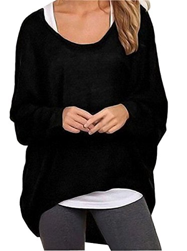 Uget Women's Casual Oversized Baggy Off-Shoulder Shirts Pullover Tops Asia XL Black