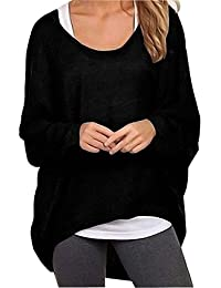Women's Casual Oversized Baggy Off-Shoulder Shirts Batwing Sleeve Pullover Tops