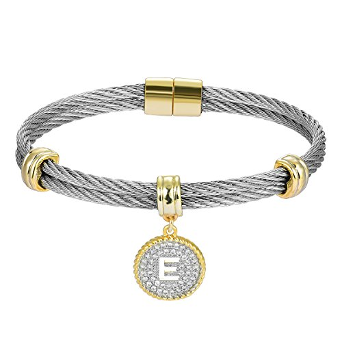 BIJOUX BOBBI [Luxury Packaging Alphabets Cubic Zirconia Twisted Wire Initial Bracelets - A4168BXK-E