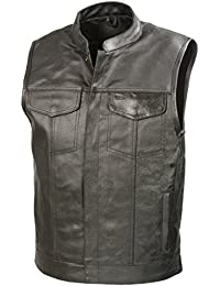 SOA Mens Leather Club Style Vest W/Concealed Gun Pockets, Cowhide Leather Biker Vest, Single Panel Back (Black...