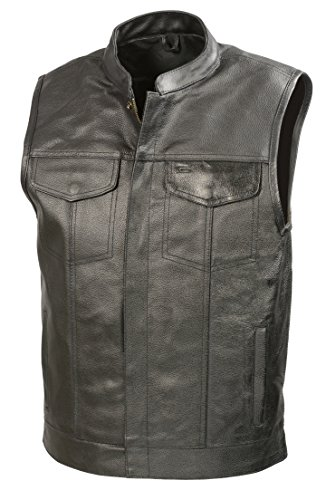 SOA Mens Leather Club Style Vest W/Gun Pockets, Leather Biker Vest (Black, 2X)