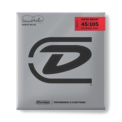 Dunlop DBMMS45105 Marcus Miller Super Bright Bass Strings, Medium, .045-.105, 4 Strings/Set