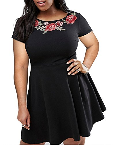 Nemidor Women's Embroidered Neckline Fit and Flare Plus Size Casual Dress (14W, Black)