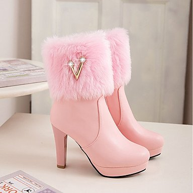 RTRY Black Shoes Chunky Round Dress Blushing Ankle Boots Pink For UK4 Leatherette 5 EU37 7 White 5 Winter 5 Toe Women'S Heel Booties Casual CN37 Boots US6 Fashion Boots rHwz5qrn0