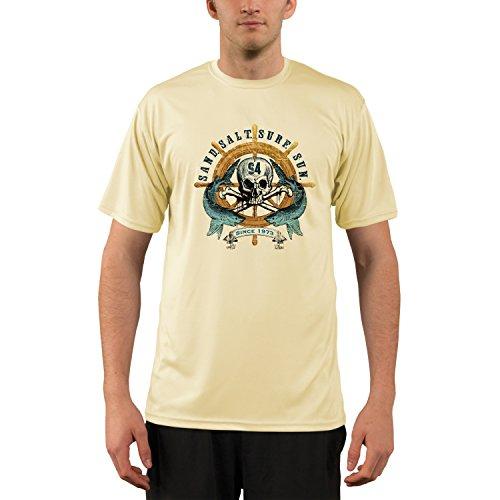 Captains Wheel Men's UPF 50+ Short Sleeve T-Shirt X-Large Pale Yellow