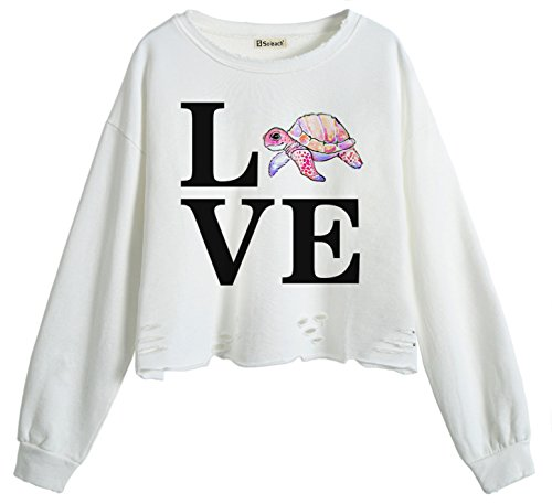 So'each Women's Love Tortoise Letters Crop Tops Hole Casual Pullover - Uk Tortoise Shop