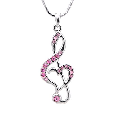 Plated Crystal Treble Clef Necklace (Pink Crystals) (Music Necklace)