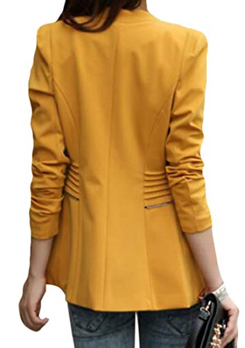 Domple Women's Slim Candy Color Round Neck Jacket Long Office Blazer Yellow US M by Domple (Image #1)