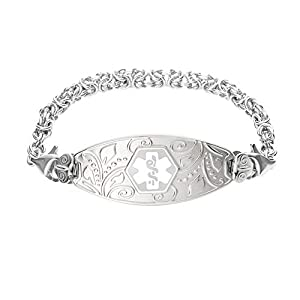 Divoti Deep Custom Laser Engraved Lovely Filigree Medical Alert Bracelet -Stainless Handmade Byzantine -White
